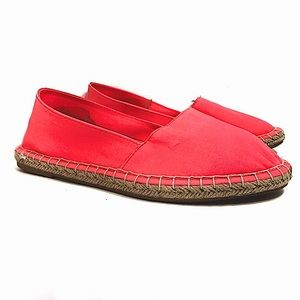 🆕 Soda bright neon coral pink espadrille lightweight slip-on flats size 6 NWT